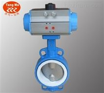 D671FP-10C DN400鑄鋼體不鏽鋼閥板四氟密封氣動對夾蝶閥