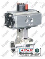 衛生級蝶閥氣動雙作用開關型帶電磁閥限位開關對焊連接閥體閥版不鏽鋼