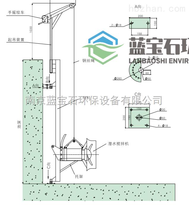 污水治理潜水搅拌机安装导轨支架ii型图片