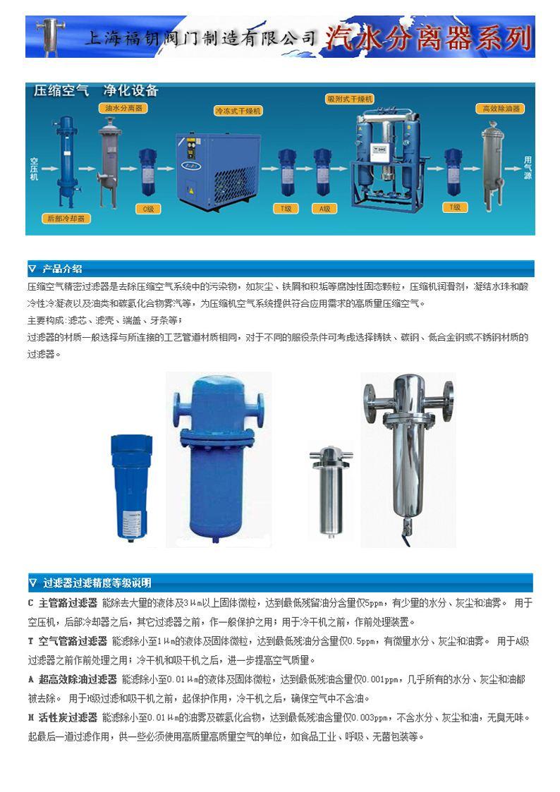 压缩空气过滤器-四级压缩空气净化器-汽水分离器