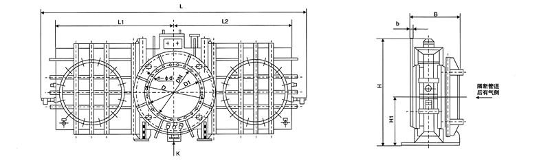 ff241x(h) 封闭式电液动插板阀为封闭式设计结构,阀体采用全封闭式