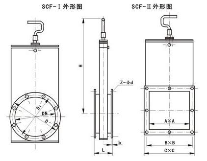 lc-Ⅰ(Ⅱ)调节插板阀 结构图