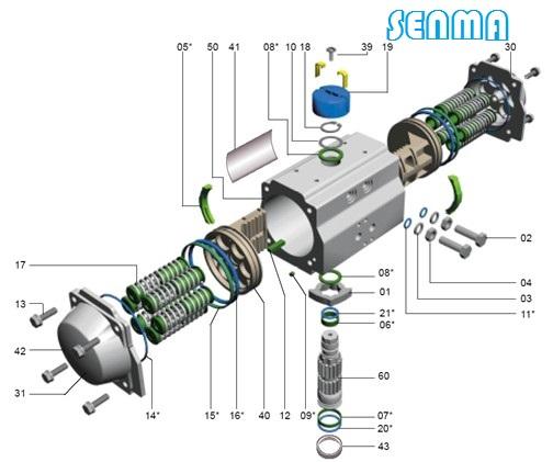 气动执行器结构分解图
